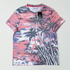 New GUESS Men's Sunset palm Trees Tee sz M
